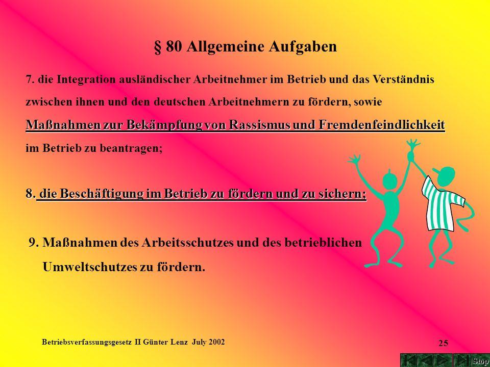 Betriebsverfassungsgesetz II Günter Lenz July 2002 25 § 80 Allgemeine Aufgaben 7. die Integration ausländischer Arbeitnehmer im Betrieb und das Verstä