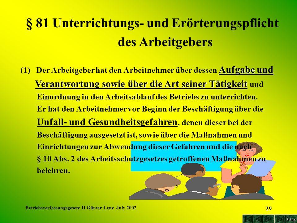 Betriebsverfassungsgesetz II Günter Lenz July 2002 29 Aufgabe und (1) Der Arbeitgeber hat den Arbeitnehmer über dessen Aufgabe und Verantwortung sowie