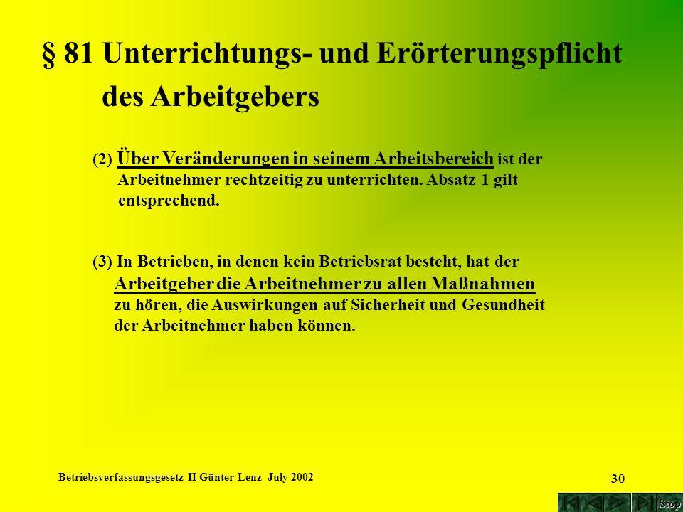 Betriebsverfassungsgesetz II Günter Lenz July 2002 30 § 81 Unterrichtungs- und Erörterungspflicht des Arbeitgebers (2) Über Veränderungen in seinem Ar