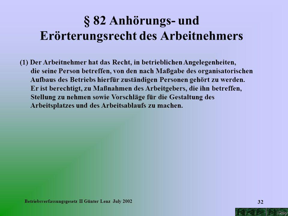 Betriebsverfassungsgesetz II Günter Lenz July 2002 32 § 82 Anhörungs- und Erörterungsrecht des Arbeitnehmers (1) Der Arbeitnehmer hat das Recht, in be