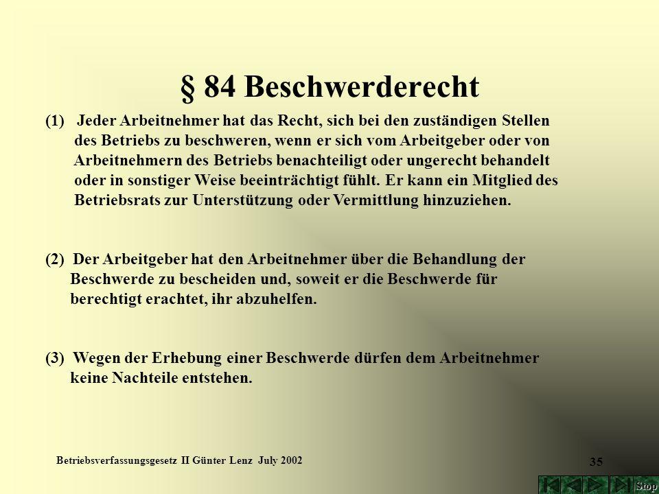 Betriebsverfassungsgesetz II Günter Lenz July 2002 35 § 84 Beschwerderecht (1) Jeder Arbeitnehmer hat das Recht, sich bei den zuständigen Stellen des
