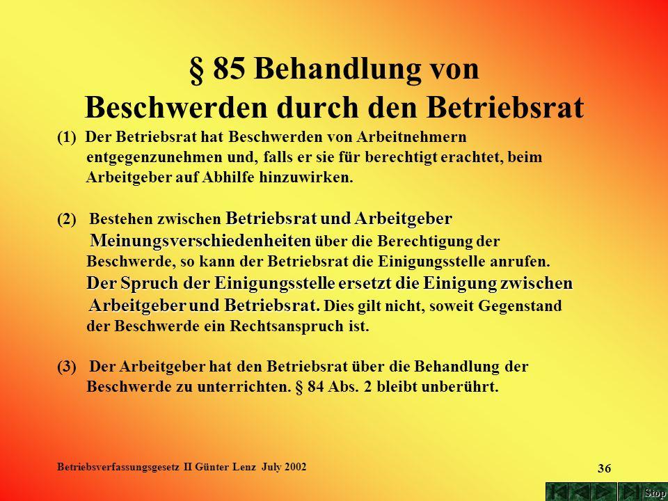 Betriebsverfassungsgesetz II Günter Lenz July 2002 36 § 85 Behandlung von Beschwerden durch den Betriebsrat (1) Der Betriebsrat hat Beschwerden von Ar