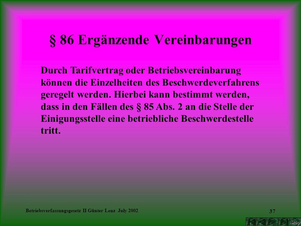 Betriebsverfassungsgesetz II Günter Lenz July 2002 37 § 86 Ergänzende Vereinbarungen Durch Tarifvertrag oder Betriebsvereinbarung können die Einzelhei
