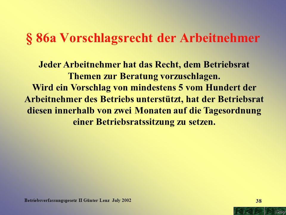 Betriebsverfassungsgesetz II Günter Lenz July 2002 38 § 86a Vorschlagsrecht der Arbeitnehmer Jeder Arbeitnehmer hat das Recht, dem Betriebsrat Themen