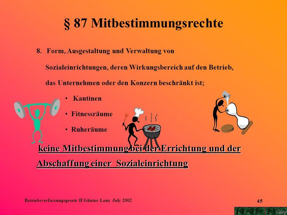 Betriebsverfassungsgesetz II Günter Lenz July 2002 45 8. Form, Ausgestaltung und Verwaltung von Sozialeinrichtungen, deren Wirkungsbereich auf den Bet