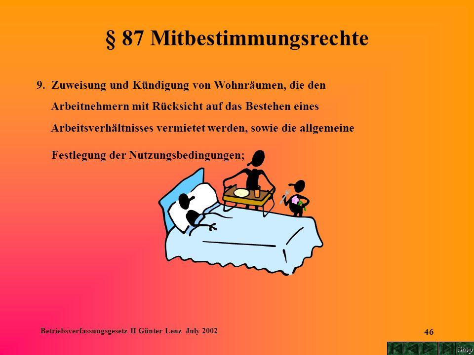 Betriebsverfassungsgesetz II Günter Lenz July 2002 46 § 87 Mitbestimmungsrechte 9. Zuweisung und Kündigung von Wohnräumen, die den Arbeitnehmern mit R