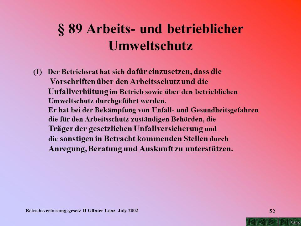 Betriebsverfassungsgesetz II Günter Lenz July 2002 52 § 89 Arbeits- und betrieblicher Umweltschutz (1) Der Betriebsrat hat sich dafür einzusetzen, das