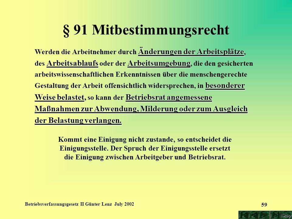 Betriebsverfassungsgesetz II Günter Lenz July 2002 59 § 91 Mitbestimmungsrecht Änderungen der Arbeitsplätze ArbeitsablaufsArbeitsumgebung besonderer W