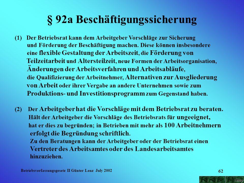 Betriebsverfassungsgesetz II Günter Lenz July 2002 62 § 92a Beschäftigungssicherung (1) Der Betriebsrat kann dem Arbeitgeber Vorschläge zur Sicherung