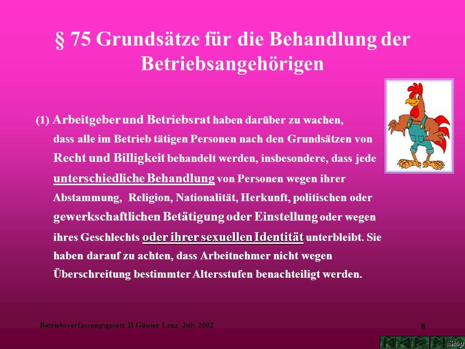 Betriebsverfassungsgesetz II Günter Lenz July 2002 9 § 75 Grundsätze für die Behandlung der Betriebsangehörigen (2) Arbeitgeber und Betriebsrat haben die freie Entfaltung der Persönlichkeit der im Betrieb beschäftigten Arbeitnehmer zu schützen und zu fördern.