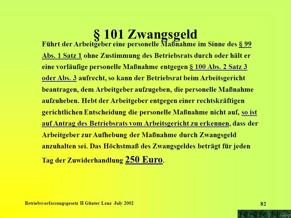 Betriebsverfassungsgesetz II Günter Lenz July 2002 82 § 101 Zwangsgeld § 100 Abs. 2 Satz 3 oder Abs. 3 so ist auf Antrag des Betriebsrats vom Arbeitsg