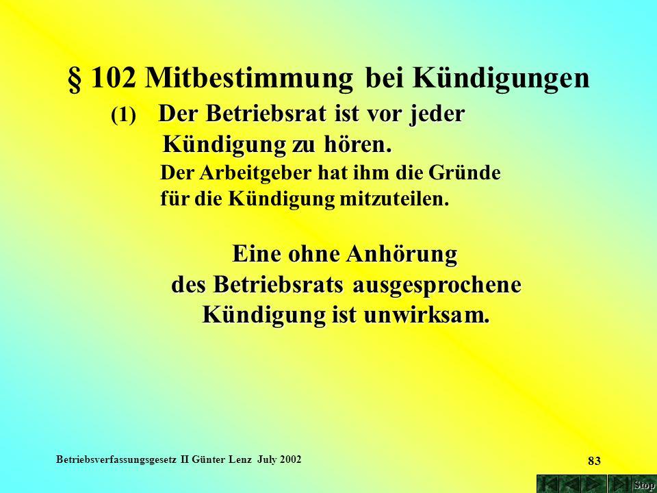 Betriebsverfassungsgesetz II Günter Lenz July 2002 83 § 102 Mitbestimmung bei Kündigungen Der Betriebsrat ist vor jeder (1) Der Betriebsrat ist vor je