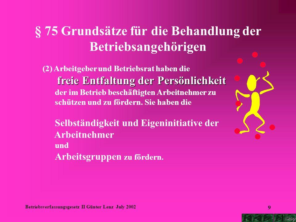 Betriebsverfassungsgesetz II Günter Lenz July 2002 40 § 87 Mitbestimmungsrechte (1) Der Betriebsrat hat, soweit eine gesetzliche oder tarifliche Regelung nicht besteht, in folgenden Angelegenheiten mitzubestimmen: 1.
