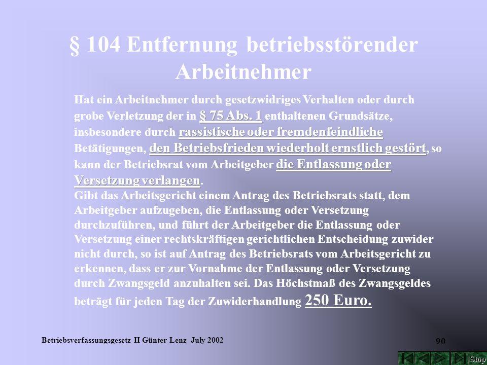 Betriebsverfassungsgesetz II Günter Lenz July 2002 90 § 104 Entfernung betriebsstörender Arbeitnehmer § 75 Abs. 1 rassistische oder fremdenfeindliche
