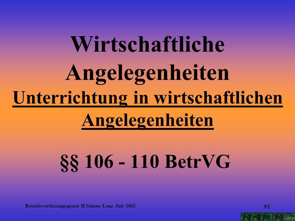 Betriebsverfassungsgesetz II Günter Lenz July 2002 92 Wirtschaftliche Angelegenheiten Unterrichtung in wirtschaftlichen Angelegenheiten §§ 106 - 110 B