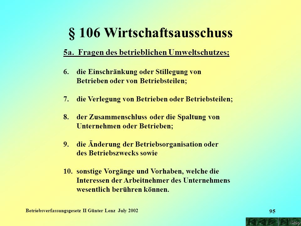 Betriebsverfassungsgesetz II Günter Lenz July 2002 95 § 106 Wirtschaftsausschuss 5a. Fragen des betrieblichen Umweltschutzes; 6. die Einschränkung ode