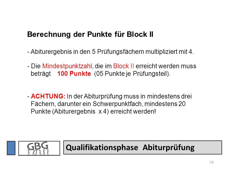 18 Qualifikationsphase Abiturprüfung Berechnung der Punkte für Block II - Abiturergebnis in den 5 Prüfungsfächern multipliziert mit 4. - Die Mindestpu