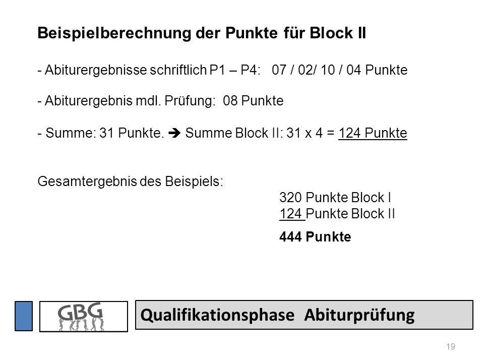 19 Qualifikationsphase Abiturprüfung Beispielberechnung der Punkte für Block II - Abiturergebnisse schriftlich P1 – P4: 07 / 02/ 10 / 04 Punkte - Abit