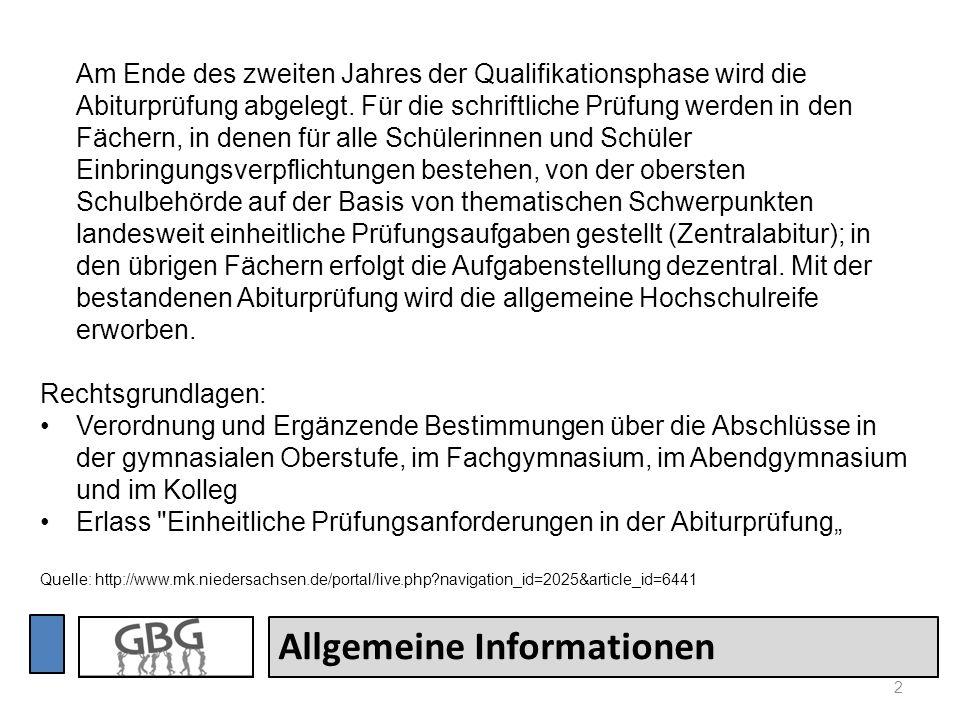 2 Allgemeine Informationen Am Ende des zweiten Jahres der Qualifikationsphase wird die Abiturprüfung abgelegt. Für die schriftliche Prüfung werden in
