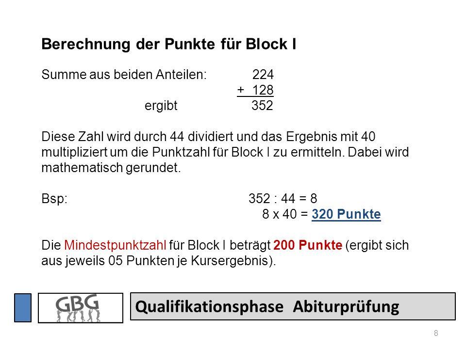 8 Qualifikationsphase Abiturprüfung Berechnung der Punkte für Block I Summe aus beiden Anteilen: 224 + 128 ergibt 352 Diese Zahl wird durch 44 dividie