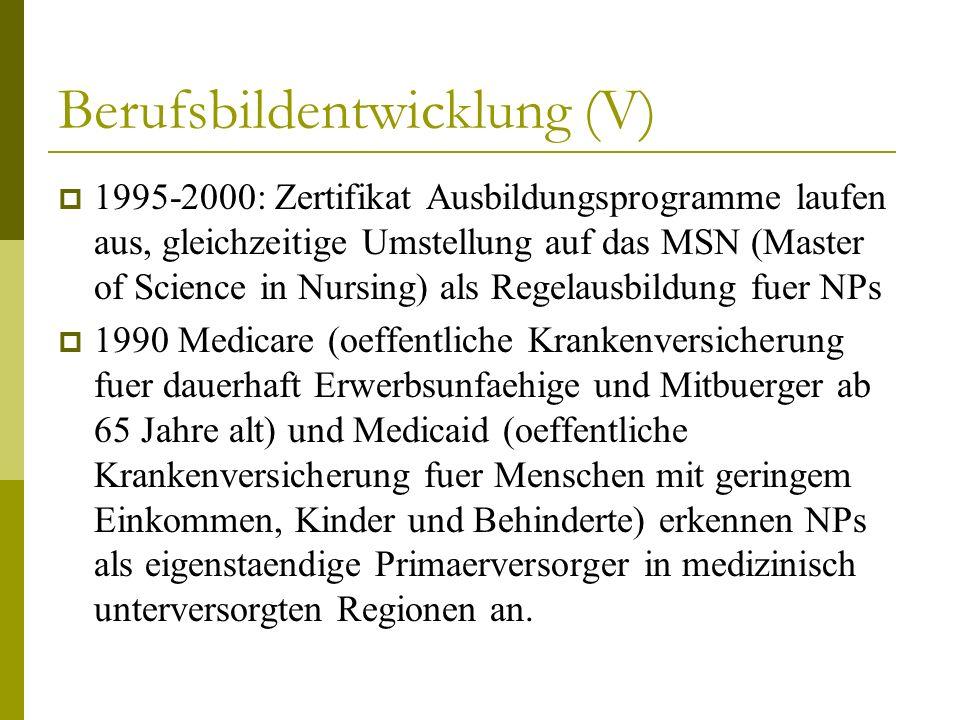 Berufsbildentwicklung (V) 1995-2000: Zertifikat Ausbildungsprogramme laufen aus, gleichzeitige Umstellung auf das MSN (Master of Science in Nursing) a