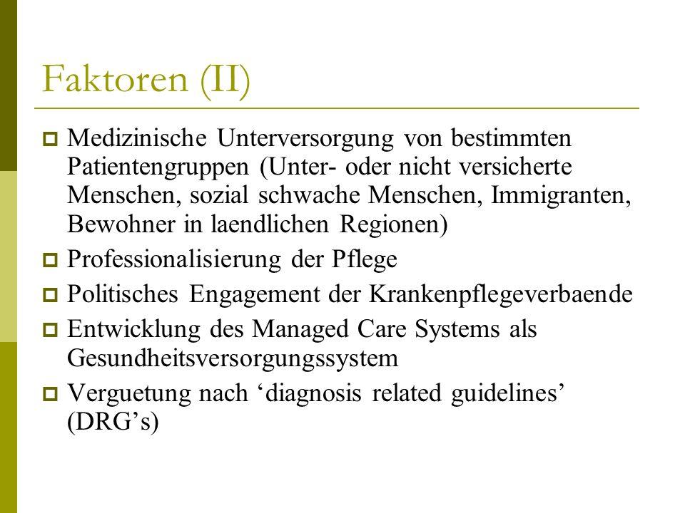 Faktoren (II) Medizinische Unterversorgung von bestimmten Patientengruppen (Unter- oder nicht versicherte Menschen, sozial schwache Menschen, Immigran