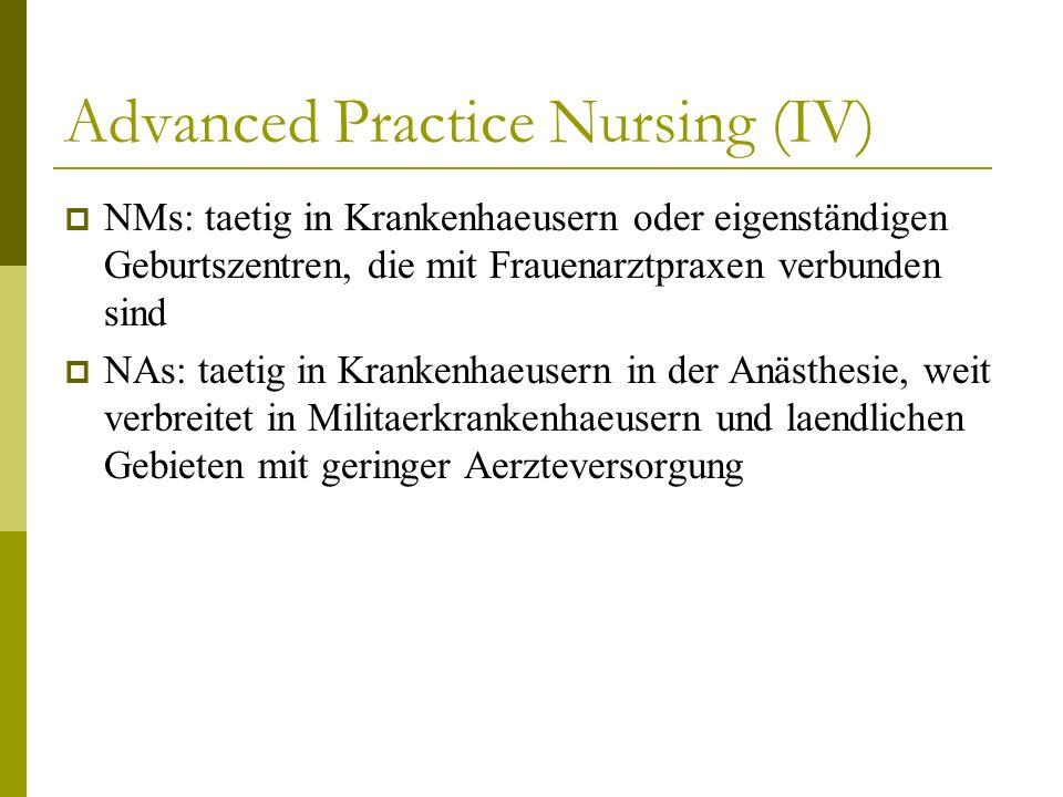 Advanced Practice Nursing (IV) NMs: taetig in Krankenhaeusern oder eigenständigen Geburtszentren, die mit Frauenarztpraxen verbunden sind NAs: taetig