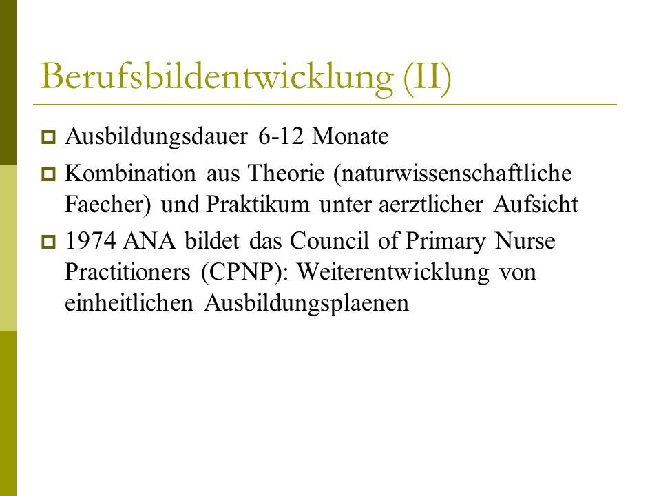 Berufsbildentwicklung (II) Ausbildungsdauer 6-12 Monate Kombination aus Theorie (naturwissenschaftliche Faecher) und Praktikum unter aerztlicher Aufsi