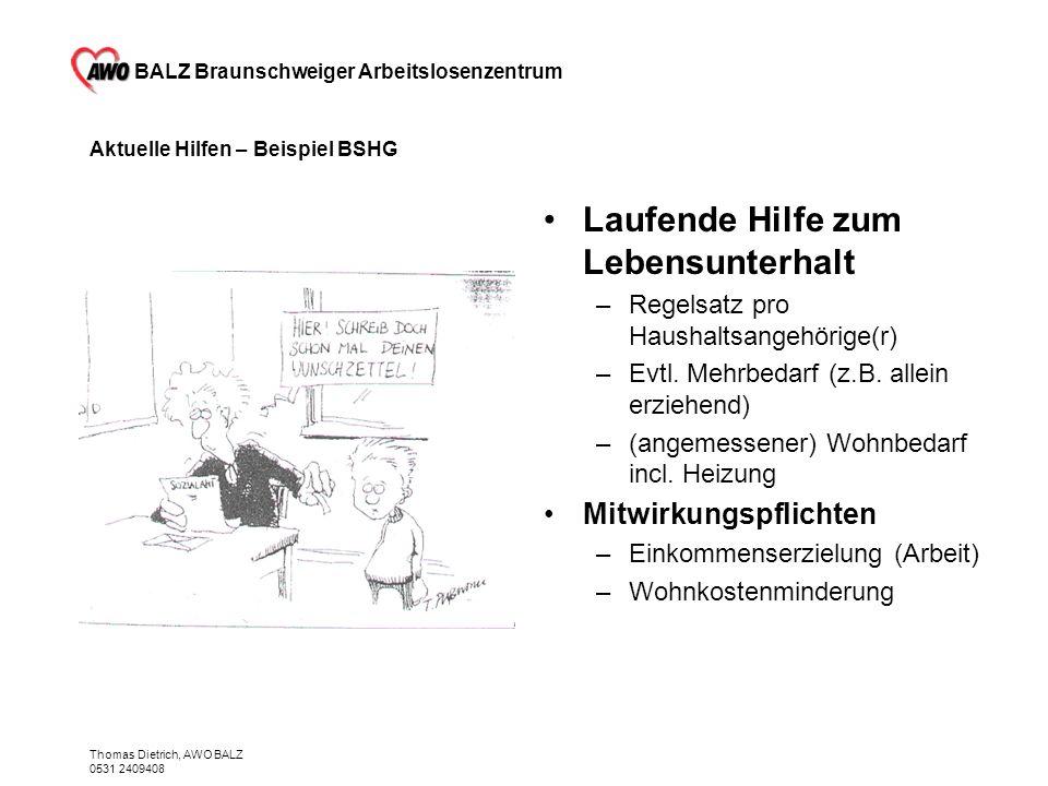 BALZ Braunschweiger Arbeitslosenzentrum Thomas Dietrich, AWO BALZ 0531 2409408 Aktuelle Hilfen – Beispiel BSHG Laufende Hilfe zum Lebensunterhalt –Reg