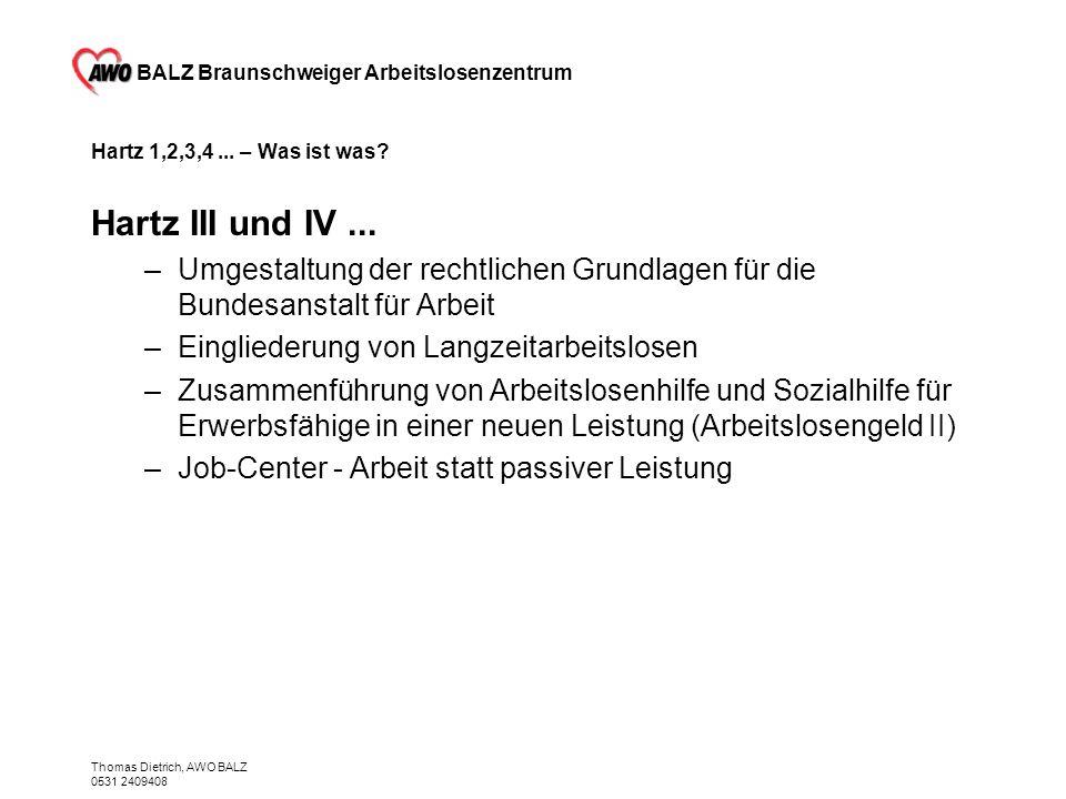 BALZ Braunschweiger Arbeitslosenzentrum Thomas Dietrich, AWO BALZ 0531 2409408 Hartz 1,2,3,4... – Was ist was? Hartz III und IV... –Umgestaltung der r