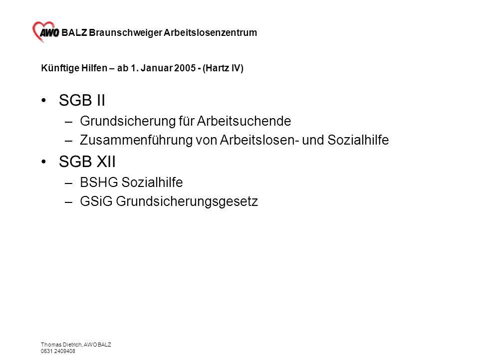 BALZ Braunschweiger Arbeitslosenzentrum Thomas Dietrich, AWO BALZ 0531 2409408 Künftige Hilfen – ab 1. Januar 2005 - (Hartz IV) SGB II –Grundsicherung