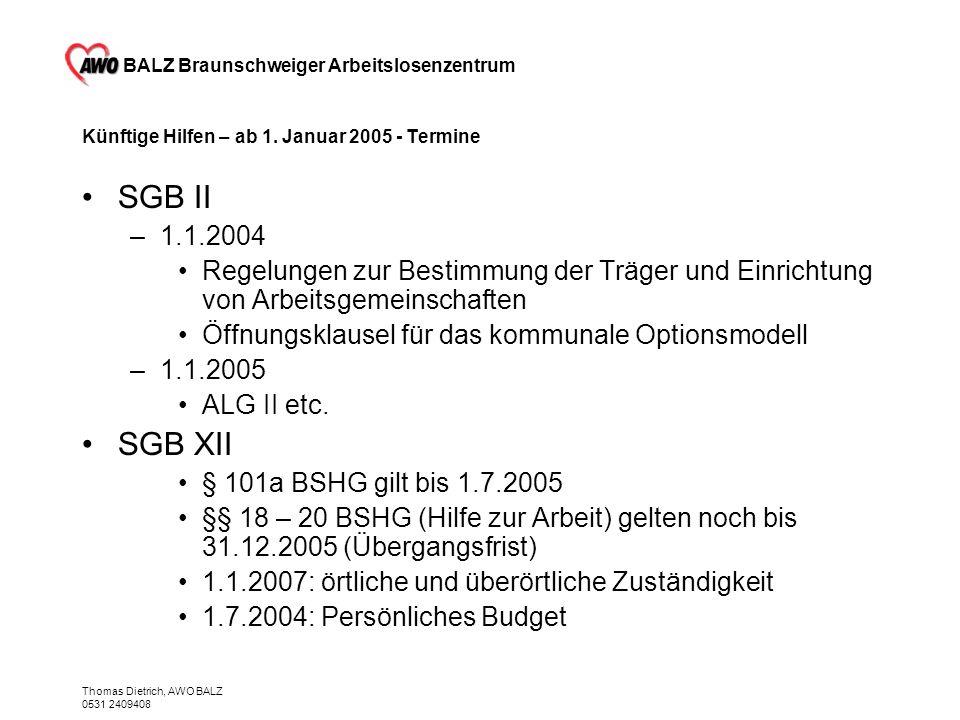 BALZ Braunschweiger Arbeitslosenzentrum Thomas Dietrich, AWO BALZ 0531 2409408 Künftige Hilfen – ab 1. Januar 2005 - Termine SGB II –1.1.2004 Regelung