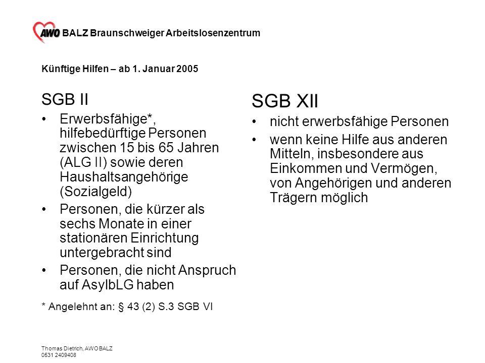 BALZ Braunschweiger Arbeitslosenzentrum Thomas Dietrich, AWO BALZ 0531 2409408 Künftige Hilfen – ab 1. Januar 2005 SGB II Erwerbsfähige*, hilfebedürft