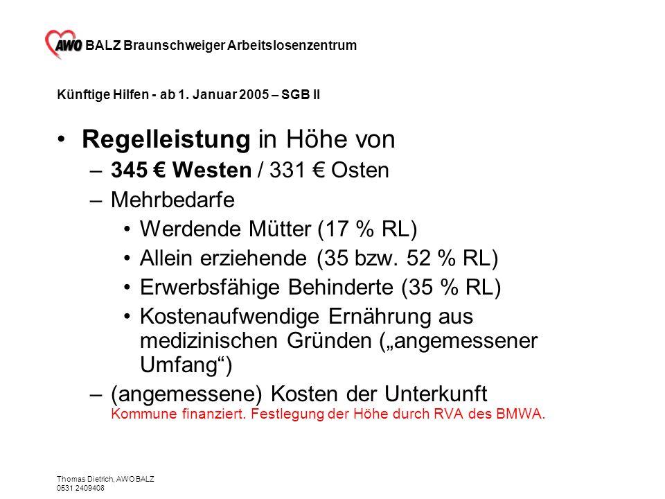 BALZ Braunschweiger Arbeitslosenzentrum Thomas Dietrich, AWO BALZ 0531 2409408 Künftige Hilfen - ab 1. Januar 2005 – SGB II Regelleistung in Höhe von