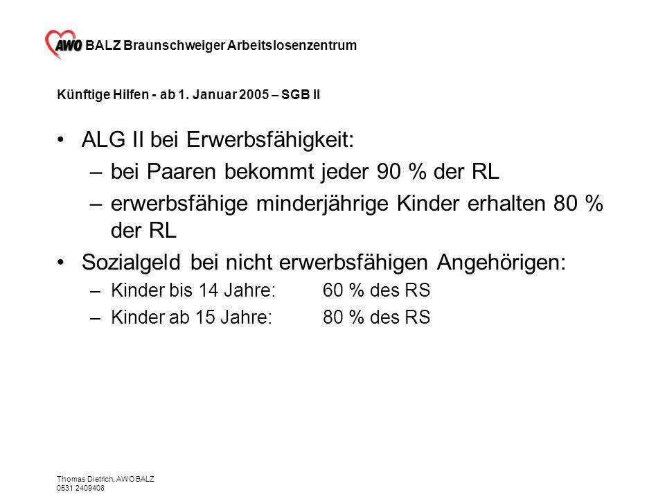 BALZ Braunschweiger Arbeitslosenzentrum Thomas Dietrich, AWO BALZ 0531 2409408 Künftige Hilfen - ab 1. Januar 2005 – SGB II ALG II bei Erwerbsfähigkei