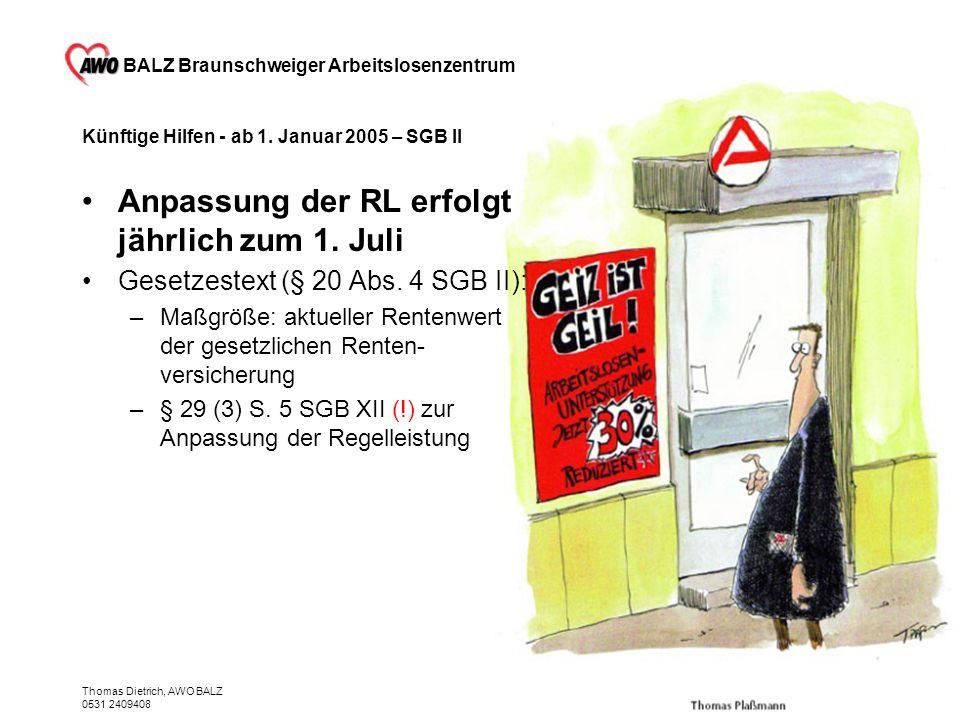 BALZ Braunschweiger Arbeitslosenzentrum Thomas Dietrich, AWO BALZ 0531 2409408 Künftige Hilfen - ab 1. Januar 2005 – SGB II Anpassung der RL erfolgt j