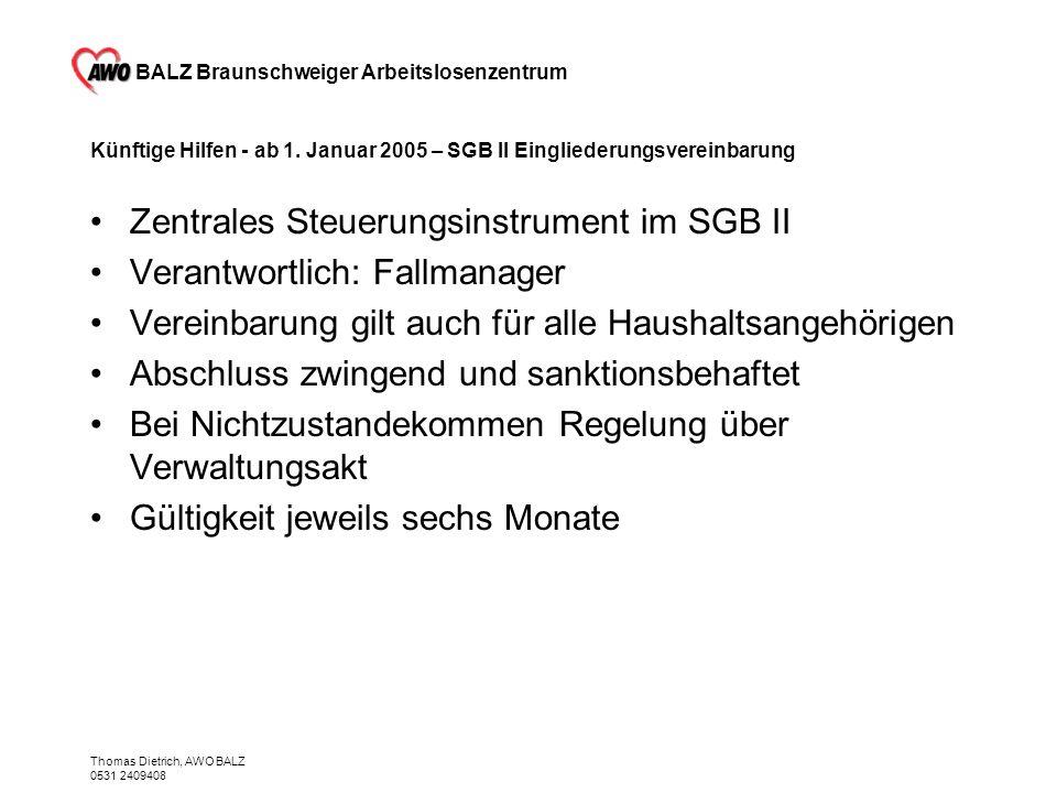BALZ Braunschweiger Arbeitslosenzentrum Thomas Dietrich, AWO BALZ 0531 2409408 Künftige Hilfen - ab 1. Januar 2005 – SGB II Eingliederungsvereinbarung