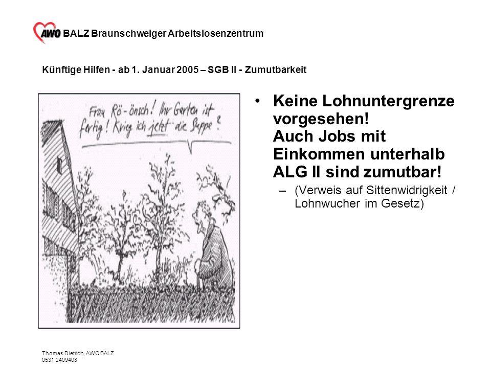 BALZ Braunschweiger Arbeitslosenzentrum Thomas Dietrich, AWO BALZ 0531 2409408 Künftige Hilfen - ab 1. Januar 2005 – SGB II - Zumutbarkeit Keine Lohnu