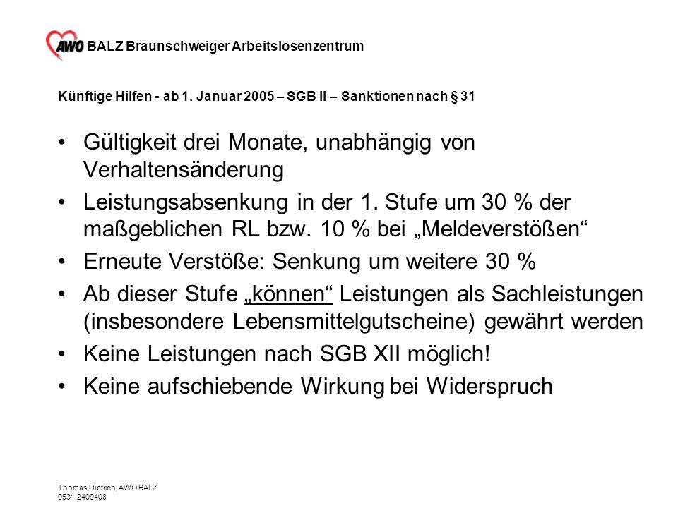 BALZ Braunschweiger Arbeitslosenzentrum Thomas Dietrich, AWO BALZ 0531 2409408 Künftige Hilfen - ab 1. Januar 2005 – SGB II – Sanktionen nach § 31 Gül