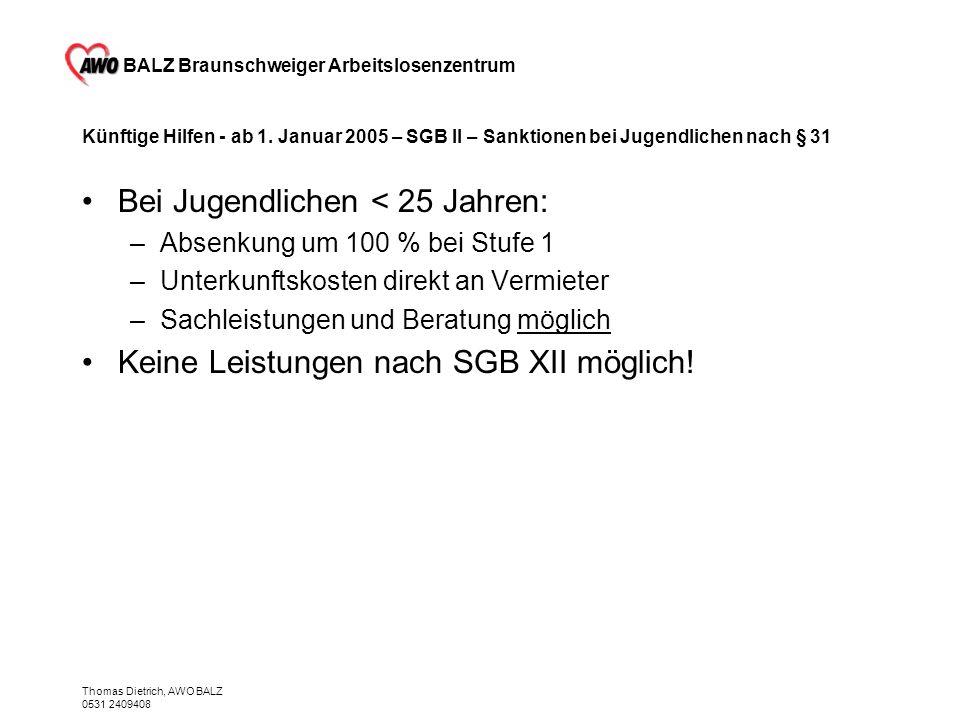 BALZ Braunschweiger Arbeitslosenzentrum Thomas Dietrich, AWO BALZ 0531 2409408 Künftige Hilfen - ab 1. Januar 2005 – SGB II – Sanktionen bei Jugendlic