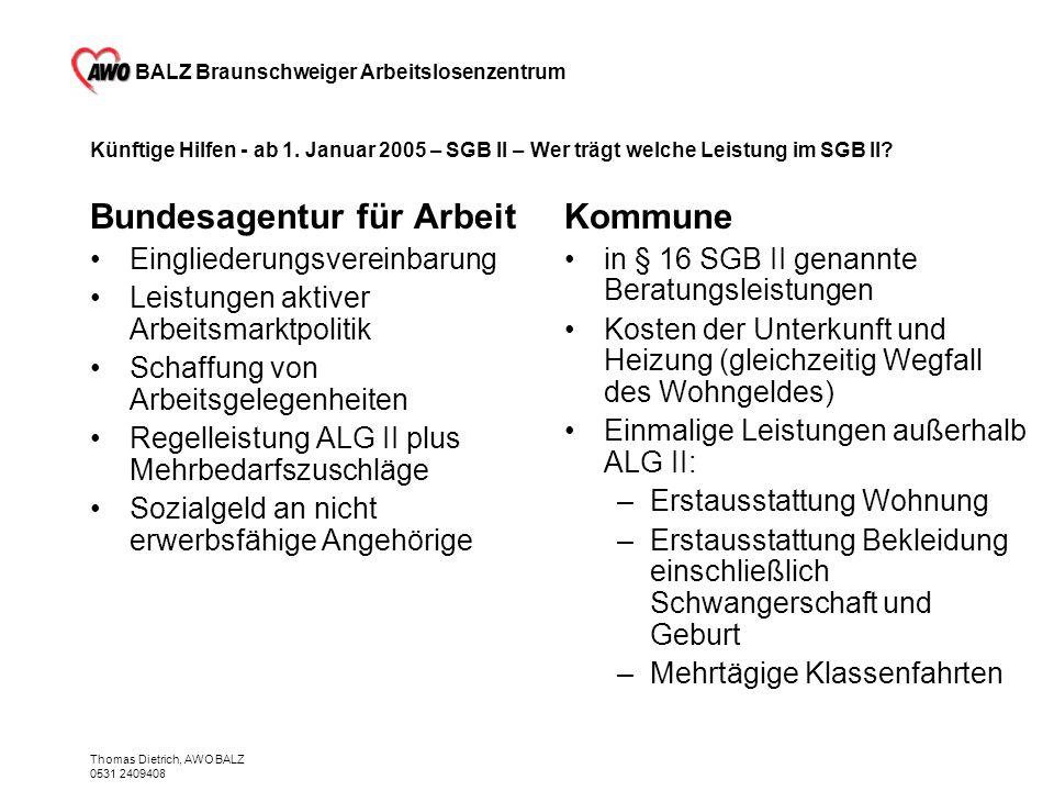 BALZ Braunschweiger Arbeitslosenzentrum Thomas Dietrich, AWO BALZ 0531 2409408 Künftige Hilfen - ab 1. Januar 2005 – SGB II – Wer trägt welche Leistun