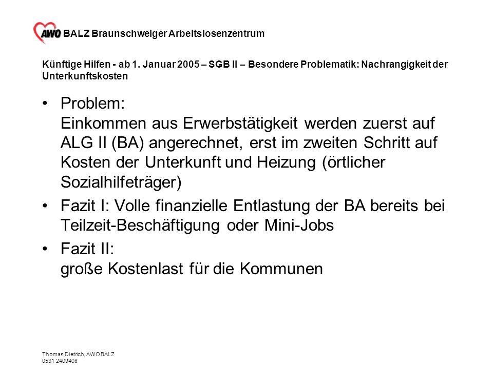BALZ Braunschweiger Arbeitslosenzentrum Thomas Dietrich, AWO BALZ 0531 2409408 Künftige Hilfen - ab 1. Januar 2005 – SGB II – Besondere Problematik: N