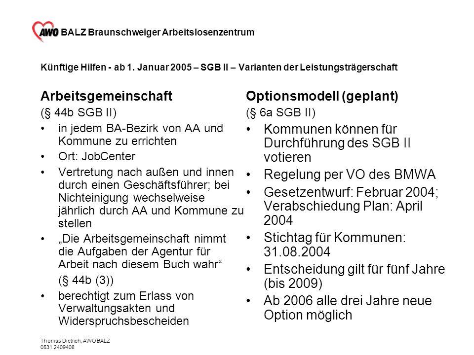 BALZ Braunschweiger Arbeitslosenzentrum Thomas Dietrich, AWO BALZ 0531 2409408 Künftige Hilfen - ab 1. Januar 2005 – SGB II – Varianten der Leistungst
