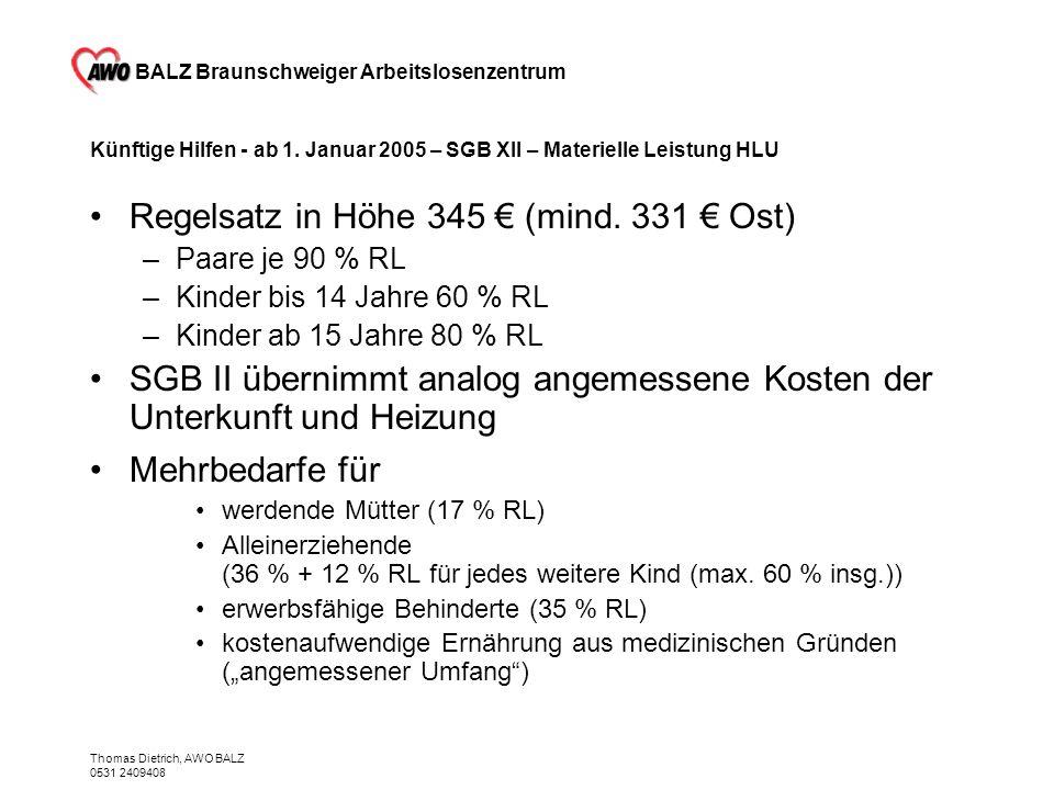 BALZ Braunschweiger Arbeitslosenzentrum Thomas Dietrich, AWO BALZ 0531 2409408 Künftige Hilfen - ab 1. Januar 2005 – SGB XII – Materielle Leistung HLU