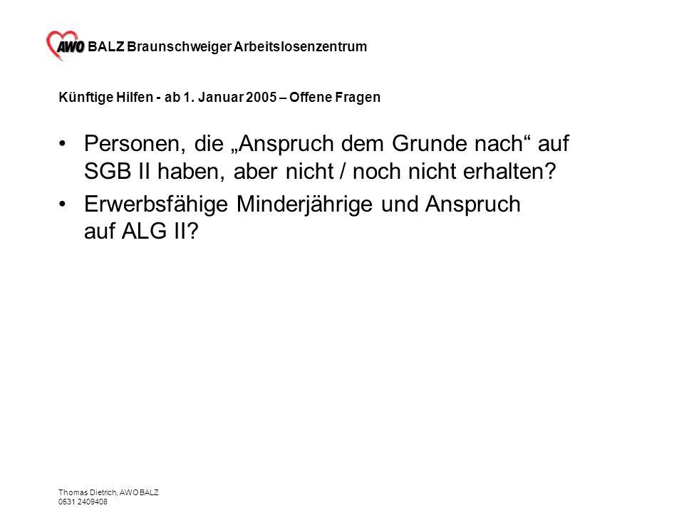 BALZ Braunschweiger Arbeitslosenzentrum Thomas Dietrich, AWO BALZ 0531 2409408 Künftige Hilfen - ab 1. Januar 2005 – Offene Fragen Personen, die Anspr