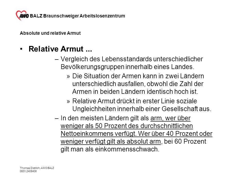 BALZ Braunschweiger Arbeitslosenzentrum Thomas Dietrich, AWO BALZ 0531 2409408 Absolute und relative Armut Relative Armut... –Vergleich des Lebensstan