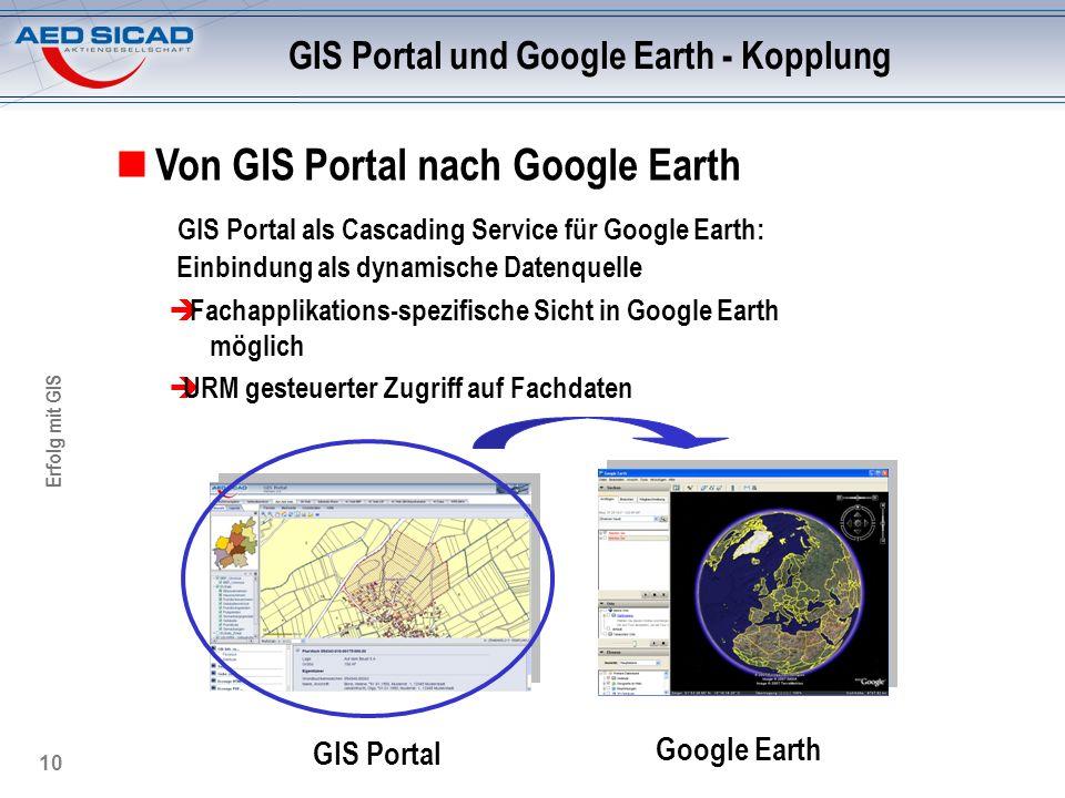 Erfolg mit GIS 10 GIS Portal und Google Earth - Kopplung Von GIS Portal nach Google Earth GIS Portal als Cascading Service für Google Earth: Einbindun