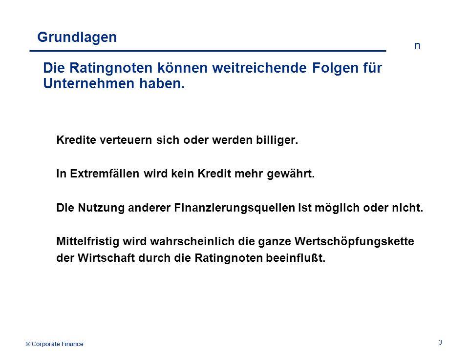 © Corporate Finance n 4 Grundlagen Zur Feststellung der Ratingnote werden daher unter- schiedliche Informationen bewertet.
