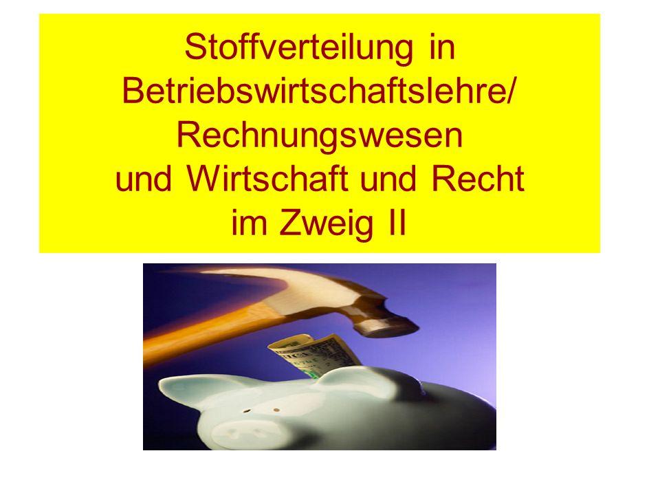 Stoffverteilung in Betriebswirtschaftslehre/ Rechnungswesen und Wirtschaft und Recht im Zweig II