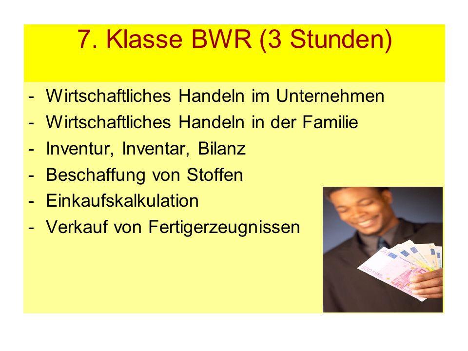 7. Klasse BWR (3 Stunden) -Wirtschaftliches Handeln im Unternehmen -Wirtschaftliches Handeln in der Familie -Inventur, Inventar, Bilanz -Beschaffung v
